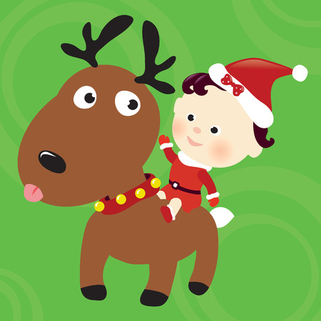 Christmas reindeer and child Vector