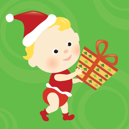 white socks: Christmas baby walking and holding a present Illustration