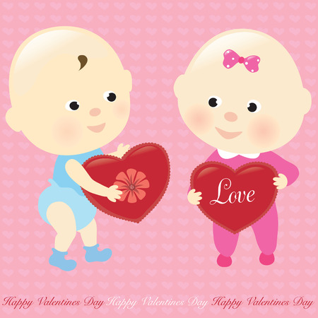 Valentine Babies Illustration