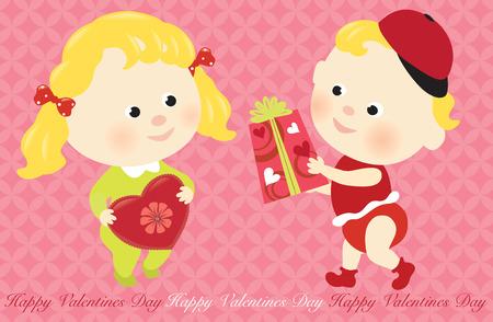 Valentine babies sharing presents Vector