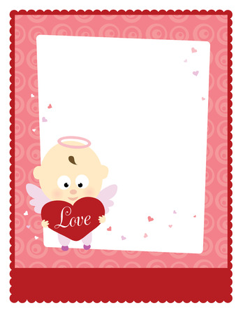 Valentine Baby Angel 8.5x11 Template Vectores