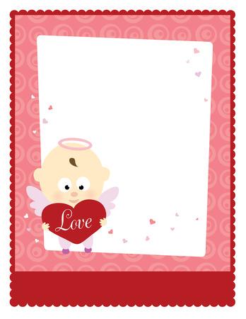 Valentine Baby Angel 8.5x11 Template Ilustrace