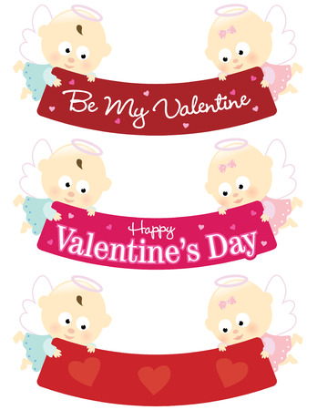 Baby angels holding Valentines banner isolated collection Vector