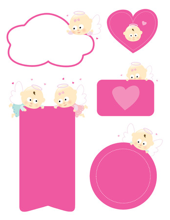 Various signs w baby angels and valentines  Vector