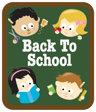 Kids w school supplies and chalkboard Vector
