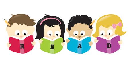 libro caricatura: Estudiantes diversos leyendo libros, aislados