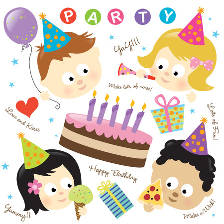 Party elements w/ kids Stock Vector - 6308675