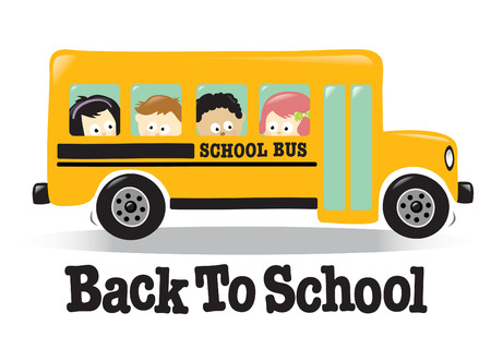 cartoon school girl: Autob�s de vuelta a la escuela con ni�os Vectores
