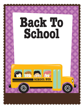 school border: 8.5x11 Back To School flyer w bus and kids