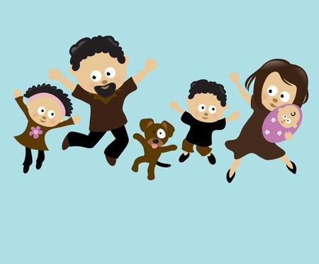Familie Jumping 2  Stock Illustratie