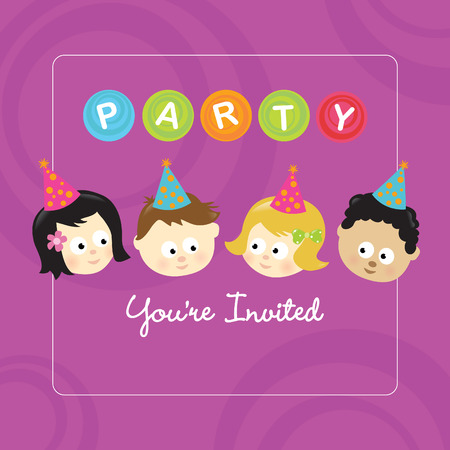 american children: Party invitation w kids of different nationalities Illustration