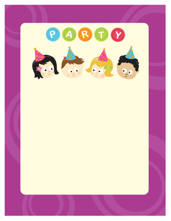 Party 8.5x11 template w/ kids of different nationalities Vettoriali