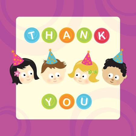 さまざまな国籍の子供たちの wパーティーありがとう