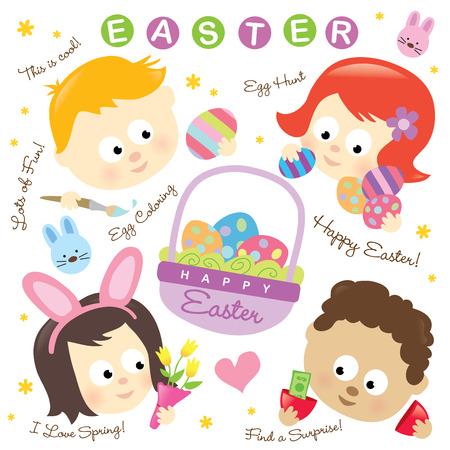 Easter elements w/ kids   イラスト・ベクター素材