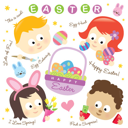 Easter elements w kids  Vector