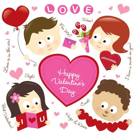 Set of various Valentine elements and kids Illustration