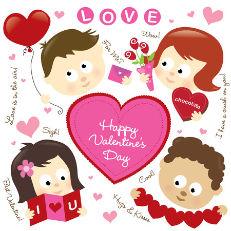 Set of various Valentine elements and kids Çizim
