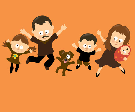 Familie Jumping 3 (Spaans)  Stock Illustratie