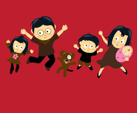 tanzen cartoon: Familie springen 4 (asiatisch)