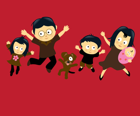 Family Jumping 4 (Asian) Vector