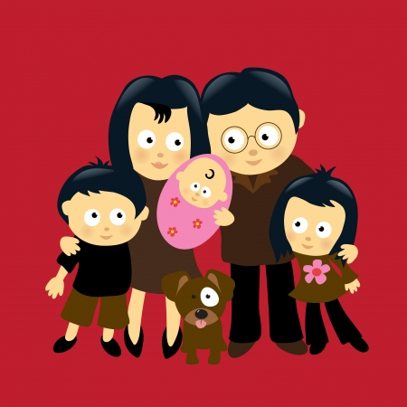 We are Family 4 (Asian) Vector