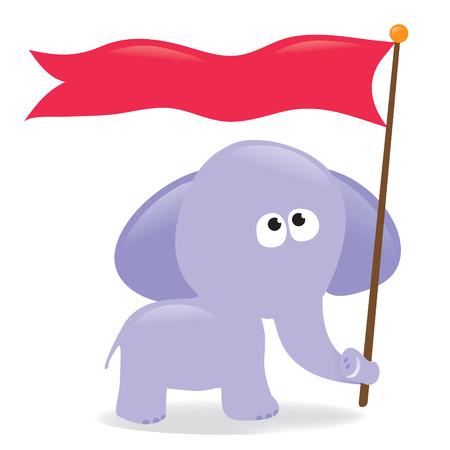 Elephant holding flagsign