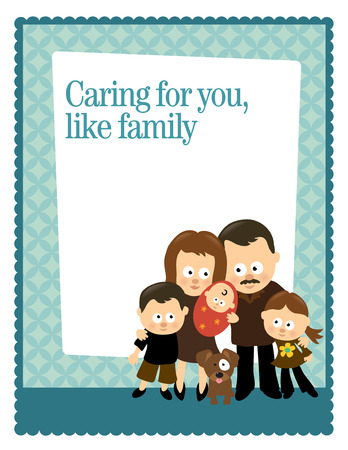8.5x11 FlyerPoster Template with Hispanic family Vector