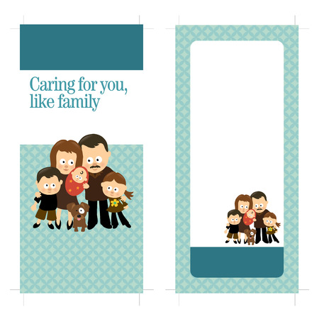 4x9 Two Sided Rack Card with Hispanic family Vettoriali