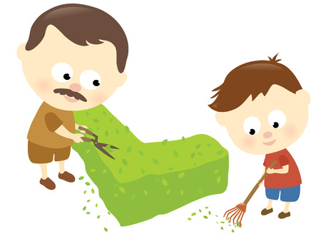helping: Father and son trimming the hedge Illustration