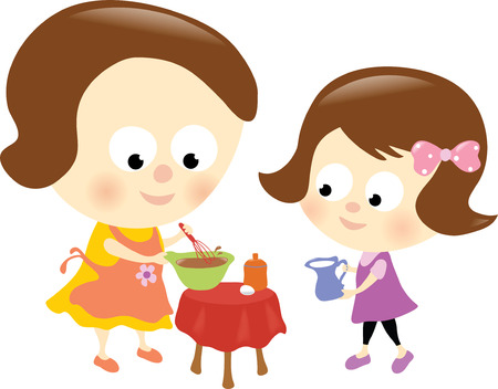 Mother and daughter preparing a chocolate cake Vector