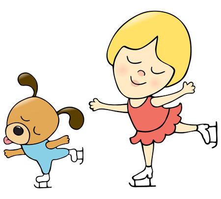 Jeune fille et le chien de patinage Banque d'images - 6533177