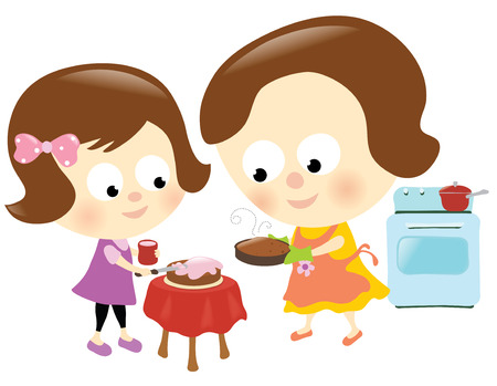 Mother and daughter baking and frosting a cake Ilustrace