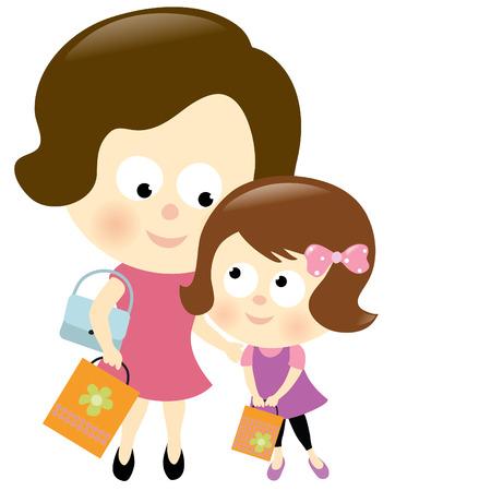 ni�os divirtiendose: La madre y la hija de compras Vectores