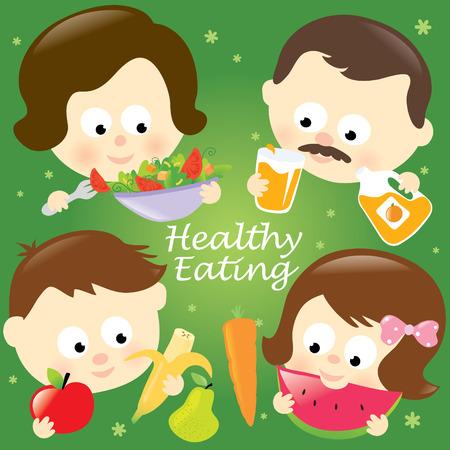 eating food: Famiglia mangia sano  Vettoriali