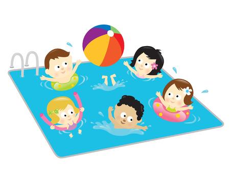 子供たちはプールで楽しんで  イラスト・ベクター素材