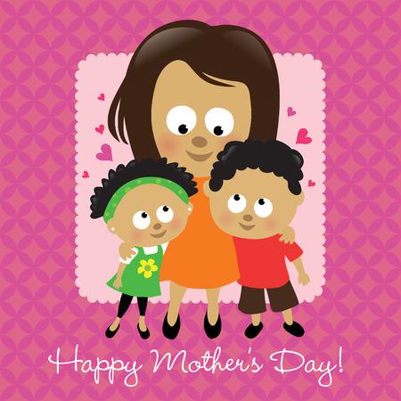 Afroamericano a felice della mamma  Vettoriali