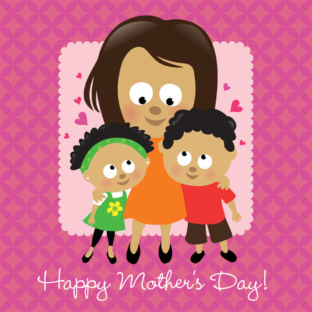 Happy Mothers Day African American  Vector