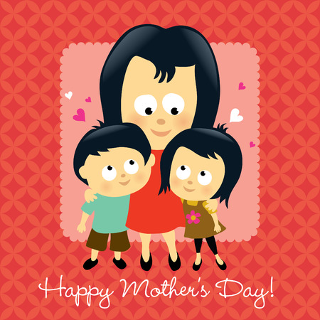 mixed family: Happy Mothers Day Asian  Illustration