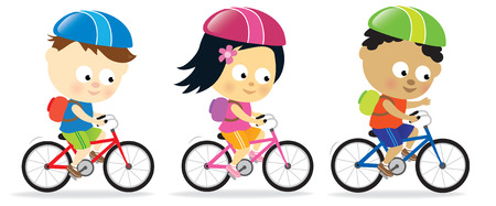 Kids riding bikes Vector