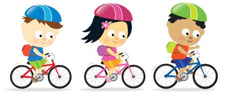 Kinderen riding fietsen