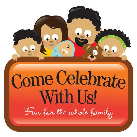 Familie bedrijf teken, Afrikaanse Amerikaanse Stock Illustratie