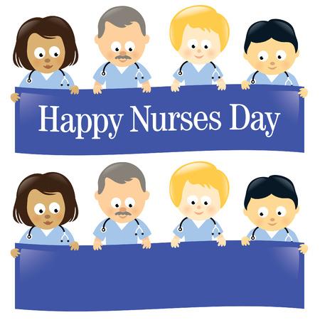 day care: Felice infermiere Day Multi-Ethnic isolato  Vettoriali
