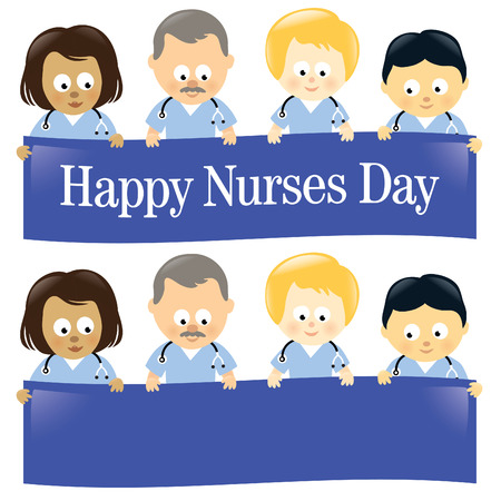 Happy Nurses Day Multi-Ethnic Isolated Çizim