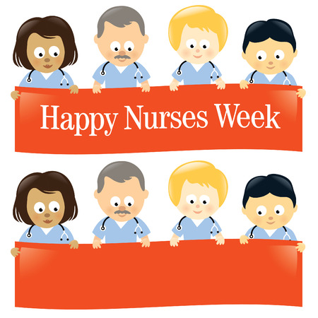middle age women: Happy Nurses Week Multi-Ethnic Isolated