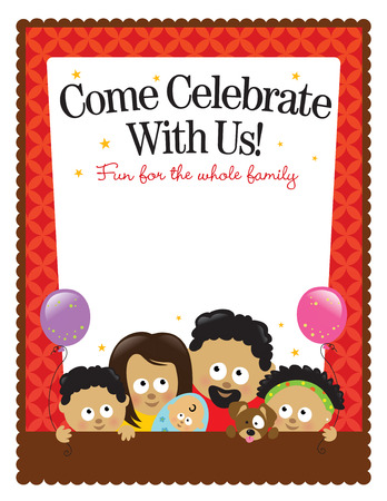 8.5x11 flyer template - African American Family Stock Vector - 6858934