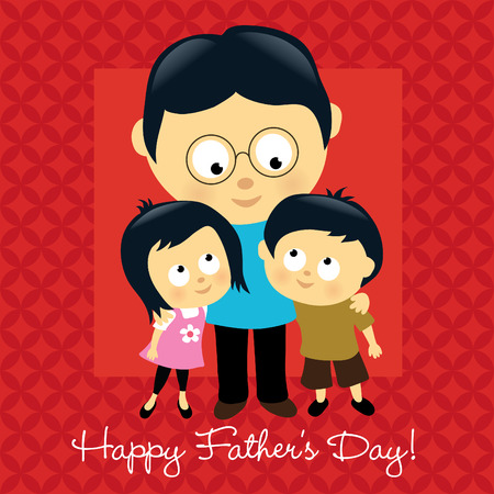 dad daughter: Happy Fathers Day - Asian  Illustration