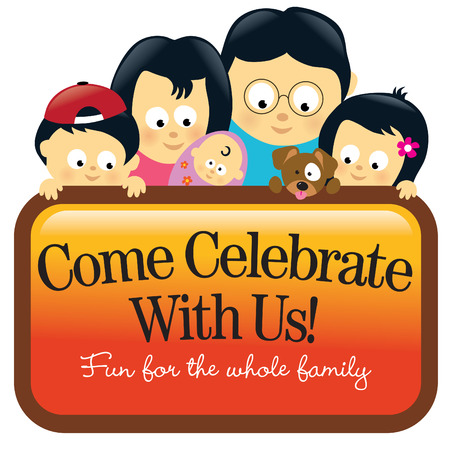 Family holding sign - Asian Vector