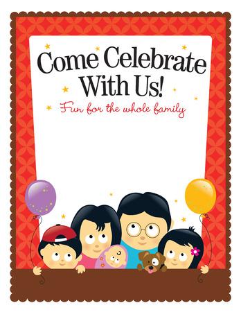 8.5x11 flyer template - Asian Family Stock Vector - 6858968