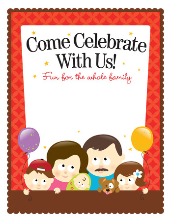 and invites: Letter size template � Caucasian Family Illustration