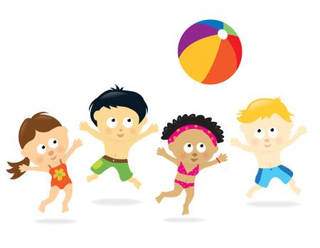 Kids multietnico Beach  Vettoriali